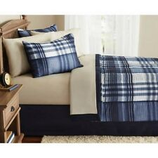 Blue White Plaid Bedding Set Full Size Bed In A Bag Comforter Tan Sheets