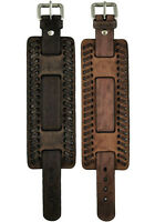 Nemesis Extra Wide Faded Weaved Leather Cuff Watch Band Bracelet Strap 24mm VTG