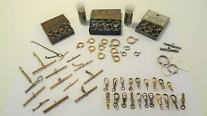 Lot Antique Pocket Watch Chain Swivels Clasps T-bars Jump Rings Some Sterling