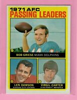 1972 Topps  # 3 AFC Passing Leaders  - Box 727-105
