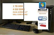 "Dell PC Core Quad 1TB HDD 4GB DDR3 WiFi Windows 7 Dual Screen TFT 2 x 17"" DELL"