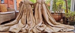 """HUGE PAIR  GOLD SILK INTERLINED CURTAINS 82"""" DROP BY 122"""" WIDTH"""
