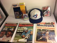 Vintage Toronto Blue jays Collectibles Lot MLB Joe Carter Cap Canada Maclean's