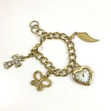 Vintage Chunky Gold Tone Charm Bracelet Heart Watch Cross Butterfly Angel Wing