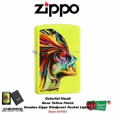 Zippo Colorful Head, Neon Yellow Base, Windproof Lighter #29083