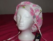 Back Bay Medical Bouffant Scrub Cap Surgery Hat pink flower 100% cotton