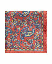 T.M.Lewin Mens Coral Paisley Textured Silk Pocket Square