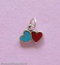 Tiny Blue & Red Two Love Hearts Charm STERLING SILVER, TURQUOISE & SIM CORAL