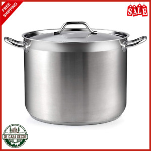 20/30 Quart Stock Pot With Lid Cookware Long Lasting Stainless Steel Silver