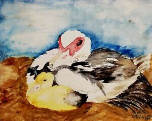 ACEO MUSCOVY DUCK Hen and Duckling 2.5 x 3.5 PRINT Farm Country Art by Artist