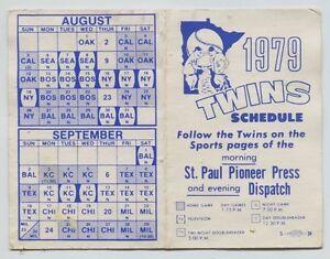 1979 Minnesota Twins Baseball pocket schedule Dispatch Pioneer Press