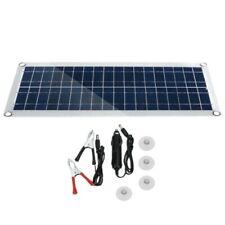 30W 12V Dual USB Flexible Solar Panel Kit Crocodile Clip Outdoor Car Charge B3T7