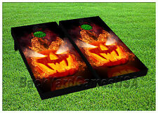 Vinyl Wraps Cornhole Boards Decals Scary Pumpkin Bag Toss Game Stickers 701