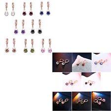 Rose Gold Colour Crystal Pear Drop Water Drop Dangle Drop Earrings Jewellery UK