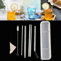 New Reusable Transparent Glass Straight Bent Straws Clean Brush Plastic Box