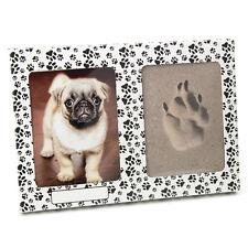 Pfotenabdruck Set Hund 3D Formschaum Katze Bilderrahmen Kartonage in weiß Pfoten
