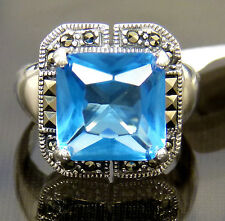 LC Swiss Blue Topaz Quartz Marcasite Vintage Heirloom Style Ring Sterling Silver