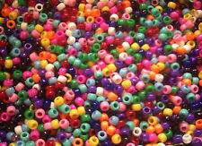 615g approx 2500 PONY BEADS MIXED OPAQUE COLOURS, BULK BUY , WHOLESALE