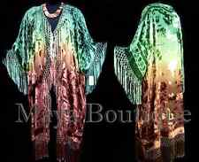 Silk Fringe Jacket Kimono Duster Caftan Hand Dyed by Maya Matazaro Green Brown
