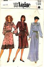 "Vogue Sewing Pattern Women's LONG OR SHORT DRESS 8049 Sz 12 B34"" UNCUT"