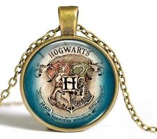 Harry Potter Hogwarts Crest Cabochon Necklace Blue Gold 18 Inches US Seller