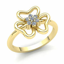 Fancy Right Hand Ring 18K Gold Genuine 0.5ct Round Cut Diamond Ladies Flower