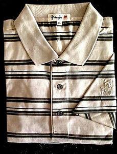 New NWT Pringle Mens L, Stone Polo Style Golf Shirt with Pringle Sleeve Logo