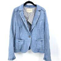 Pilcro & The Letterpress Anthropologie Medium Blazer Blue Denim Chambray Jacket