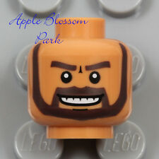 NEW Lego Medium FLESH MINIFIG HEAD w/Dark Brown Black Moustache Man Beard Hair