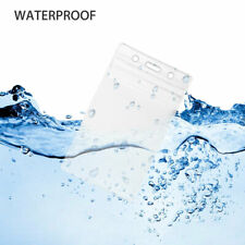 Clear Plastic ID Card Holder Badge Resealable Waterproof Business Case Name Tag