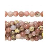 Lepidolite Round Beads 6mm Pink/Yellow 62+ Pcs Gemstones Jewellery Making Crafts
