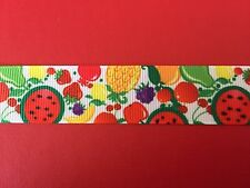 SUMMER FRUIT Grosgrain RIBBON 1Mtr X 22mm For Craft Hair Gifts Cakes