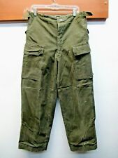 Men's Vintage Green Canvas Roll Cuff Cargo Pants Army military trouser-No label