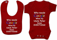 Google Personalised Uncle..Baby Grow/Bodysuit/Romper/T-Shirt & Feeding Bib 0-24m