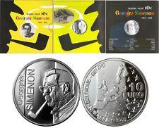 manueduc  10  Euros PROOF PLATA  BELGICA 2003  CARTERA GEORGES SIMENON  NUEVA