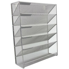 Magazine Holder Rack Storage File Document Organiser Wall Mounted Mesh Silver