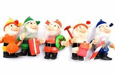 Vintage Flocked Elf Gnome Ornaments- Set of - Lot #6