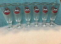 """Amstel Light ~ Official Beer of the PGA (6)~ 8"""" Stemmed Gold Trim Beer Glasses"""