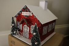 NWT Pottery Barn Kids Light Up Glitter School House Christmas decor