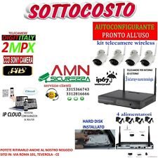 KIT WIRELESS WIFI VIDEOSORVEGLIANZA IP AHD 2MP 8 CANALI 4 TELECAMERE HD 500GB