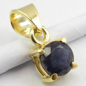 """Yellow Gold Overlay Sterling Silver IOLITE Pendant 0.6"""" Handcrafted Art"""