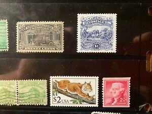 Lot of Unused/MNH & Canceled US stamps - off/on paper, $1, $2, special delivery