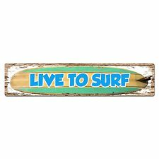 SP0418 Live to Surf Chic Street Sign Bar Pub Store Shop Cafe Home Wall Decor