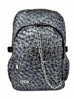 CHOK RUSTIC GREY TRIANGLE STUD 3D BACKPACK RUCKSACK Punk Goth Laptop School Bag