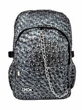 CHOK RUSTIC GREY TRIANGLE STUD 3D BACKPACK RUCKSACK Punk Goth Laptop School Bag