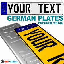 German Style Number Plates Pressed x2 plate metal embossed euro Show D GB pair