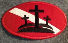"""Christian Diver Down Oval Patch Crucifix Scuba LARGE- 4"""" x 2.5""""  Iron On Crosses"""