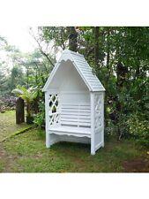 Laubenbank Bali weiß Philosophenbank Mahagoni Bank Gartenbank Rosenbank Garten