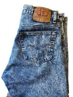 VINTAGE Levis 501 Denim Button Fly Jeans 80s Acid Wash USA 32x32 Red Tag *Cut*