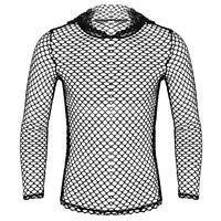 Herren Langarmshirt Netzshirt Netzhemd Hoodie T-Shirt Tops Transparent Clubwear